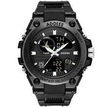 2019 New Alloy Watch-case Quartz Men's Watch 50Meters Waterproof Sports Watch Black Light LED Luminous Wristwach Outdoor Digital цена и фото