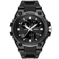 Addies 2019 גברים של שעון 5bar עמיד למים דיגיטלי שעון אבזם אבזם שחור/לבן של איש ספורט שעון גומייה שעוני יד אדם
