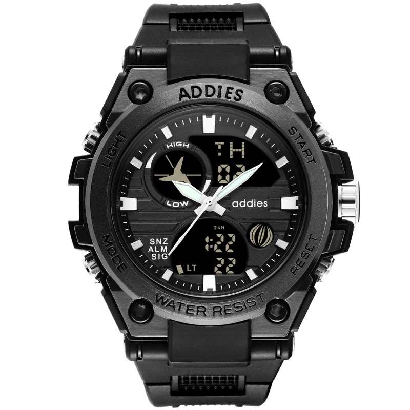 Addies 2019 Men's Watch 5bar Waterproof Digital Watch Buckle Clasp Black/white Man's Sports Watch Rubber Band Wristwatch Man