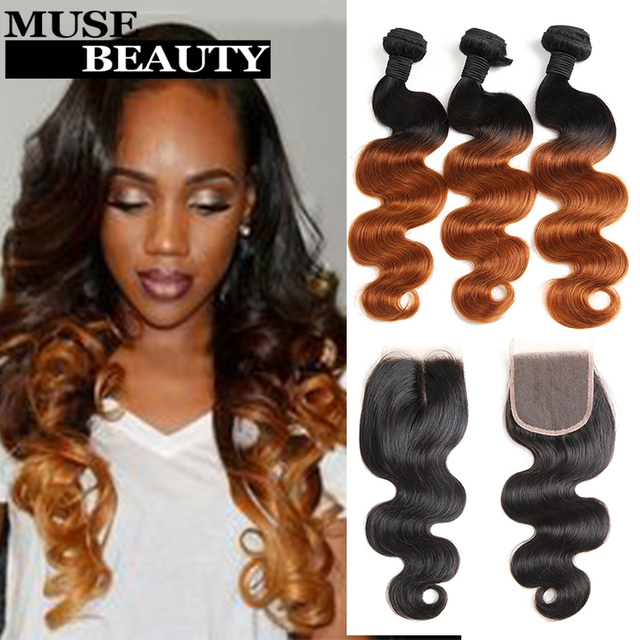 Beauty 1B 30 Ombre Peruvian Virgin Hair Body Wave With Closure 4 Bundles Peruvian Human Hair With Closure Ombre Hair Extensions