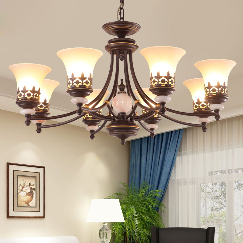 American country chandeliers simple European style living room lights Nordic garden bedroom lights restaurant retro LED lighting цена