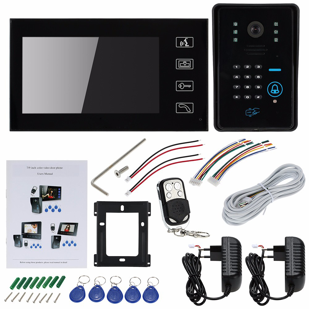 SYSD Wired Touch Key 7 Video Door Phone Intercom System 1 RFID Keypad Code Number Doorbell Camera 1 Monitor FREE SHIPPING free shipping 7 lcd video door phone intercom system 2 screens rfid access code keypad password camera electric control lock