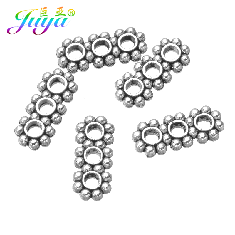 12*5mm Antique Silver 3 Holes Metal Spacer Bars Accessories For Women Natural Stones Pearls Ancient Beadwork Jewelry Making