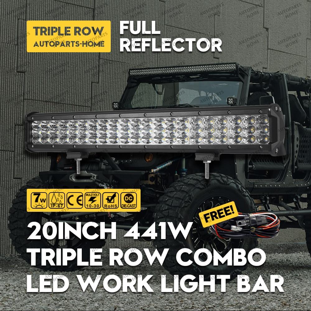 Светодиодный свет бар 20 дюймов 441 Вт Tri-для уточнения тягач Boat Off Road 4WD 4x4 грузовик внедорожник ATV Combo луча 12 В 24 В + 3 М жгут Провода Наборы