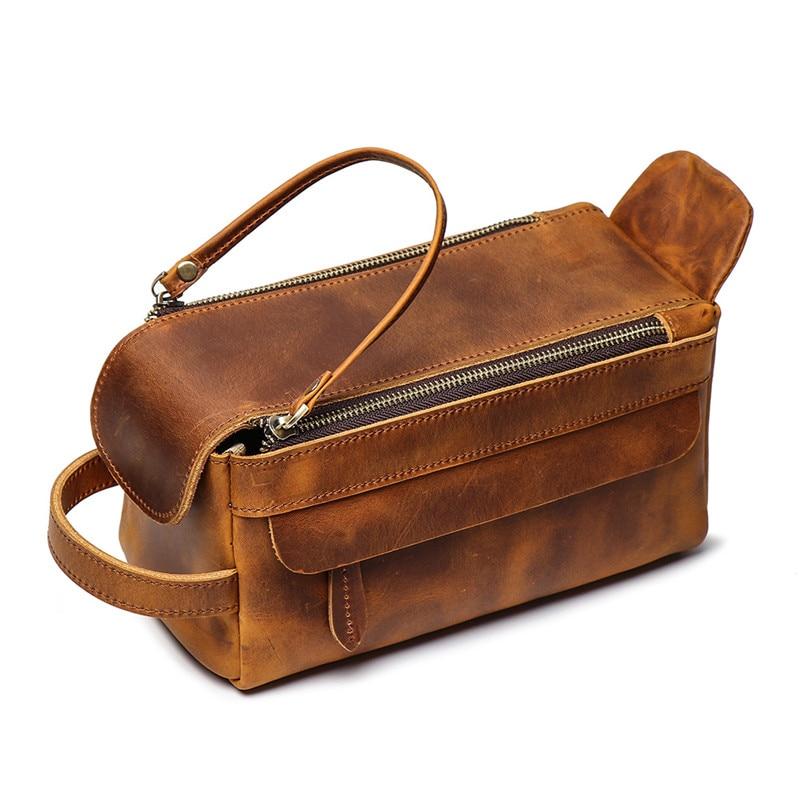 Nesitu Vintage Brown Black Thick Genuine Crazy Horse Leather Women Men Cosmetic Bag Travel Toiletry Wash