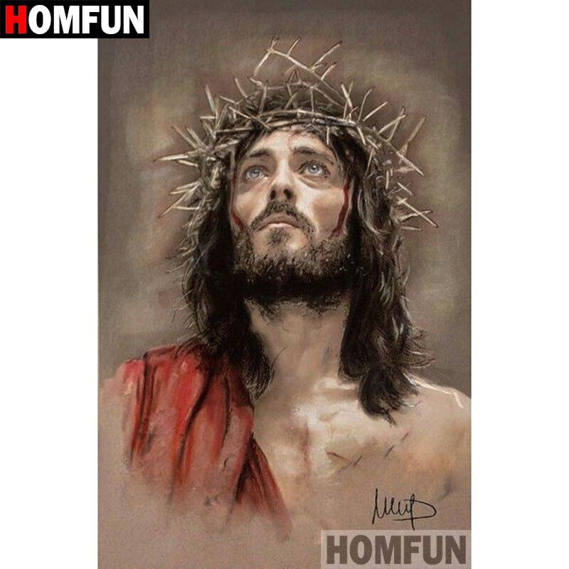 """HOMFUN 3D Алмазная картина """"религиозная Подвеска"""" Иисус """""""" DIY Полный Стразы Набор для вышивания крестиком квадратная круглая Алмазная вышивка A09433"""