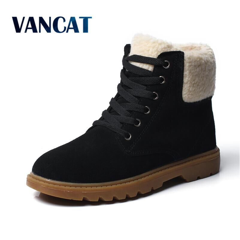 VANCAT  Winter Shoes Women Cow Suede Warm Snow Boots Round Toe Lace Up Casual Women Ankle Boots Hard Outsole Botas Mujer new arrival women genuine leather flat ankle boots fashion round toe lace up ankle boots for women ladies casual cow suede boots