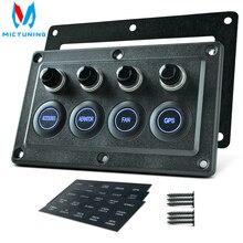 MICTUNING Disyuntor de pantalla táctil para coche, Panel de interruptores LED Precableado de 4 entradas, 12V/24V