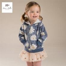 DB4249 дэйв bella baby девушки дейзи печатных пальто девушки цветок с капюшоном верхняя одежда для детей пальто