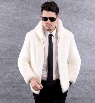 Faux mink leather jacket mens winter thicken warm fur leather coat men slim jackets jaqueta de couro fashion Hooded white autumn autumn faux mink leather jacket mens winter thicken warm fur leather coat men slim jackets jaqueta couro fashion big fur collar