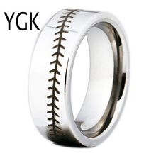 Free Shipping USA UK Canada Russia Brazil Hot Sales 8MM Silver Pipe Baseball Stitch Comfort Men's Fashion Tungsten Wedding Ring