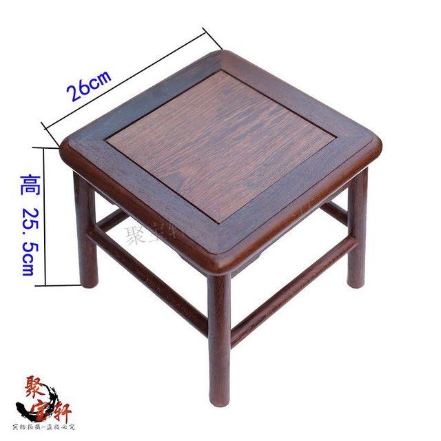 Cadeira de mogno pequeno quadrado vasos de pedra de Buda escultura em madeira artesanato artigos de decoração roxo