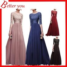 2019 Women dress autumn winter half sleeve party dresses red black white color ect chiffon lace elegant long maxi dress