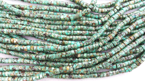 100pcs  Genuine African Turquoise Beads 4mm 6mm Turquoise Stone Round Heishi Wheel Green Loose Beads
