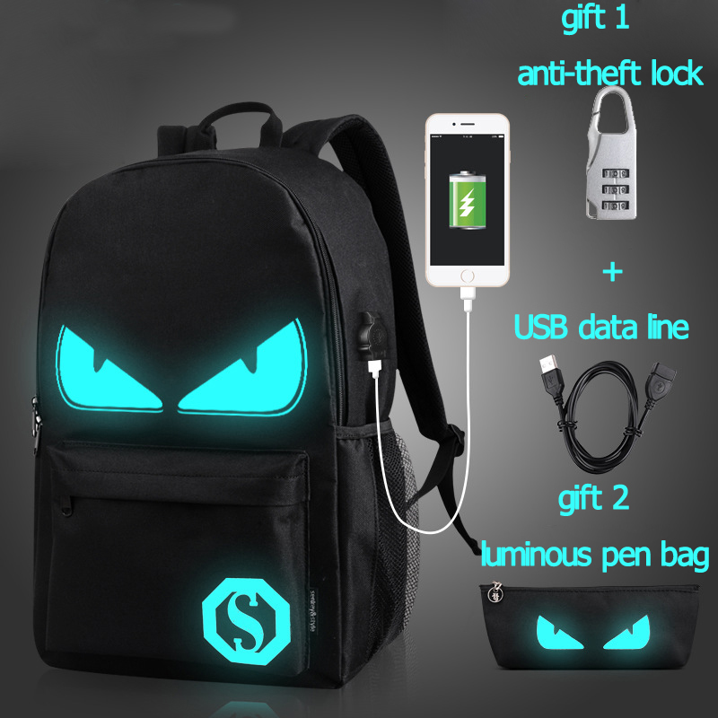 Student School Backpack Anime Luminous USB Charge Schoolbag Safe Reflective Stripe Backpack For Teenager Boys School Bag Bagpack 16 inch anime teenage mutant ninja turtles nylon backpack cartoon school bag student bags double shoulder boy girls schoolbag