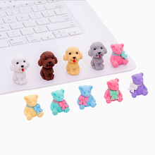 10set/lot Lovely Teddy Dog Bear Rubber Suit Cute Gifts for Party DIY Kawaii Pencil Eraser Kids Promotion Gift
