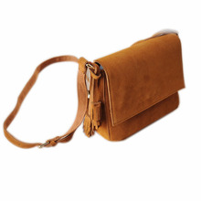 Casual Genuine Leather Shoulder Bag Lady Boho Leisure Real Suede Small Tassel Fringe Simple Brown Flap Crossbody Bags for Women