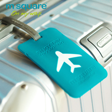 M Square Travel Luggage Tag Plastic Cute Luggage Tags Silicone Luggage Label Colorful Jelly Round Square Suitcase Id Label Tag