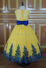 2016 Real photo yellow flower girl DRESS OCCASION PARTY BRIDESMAID WEDDING FORMAL WEAR! Birthday gift all sizes from 2-14!