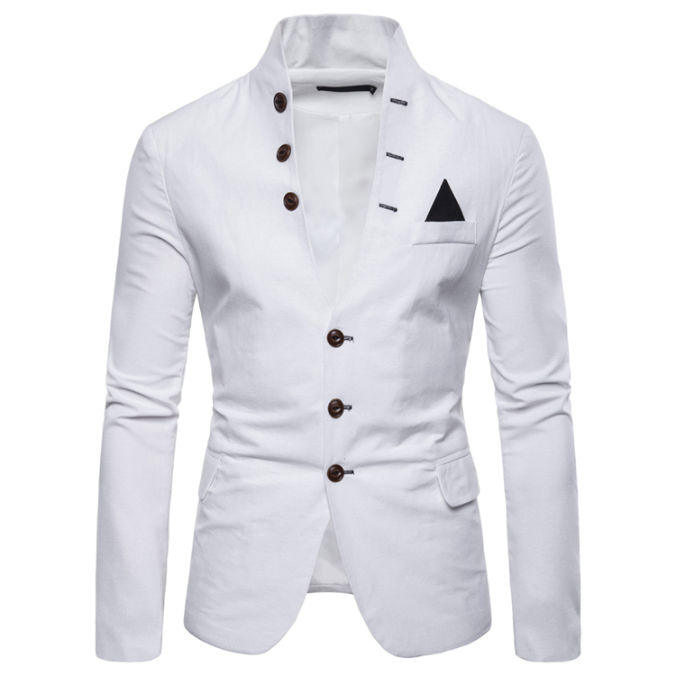 Mens Suits Blazers Euro Size 2019 Spring Autumn Multi button Decorative Men's Casual Stand up Collar Suit