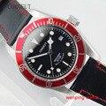 Corgeut 41 мм красный ободок сапфировое стекло черный циферблат серебряный цвет стрелки автоматическое движение Мужские часы 1670