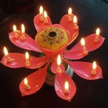 Короткая романтическая музыкальная свеча цветок лотоса вечерние свечи в подарок на день рождения вечерние украшения торта для детей