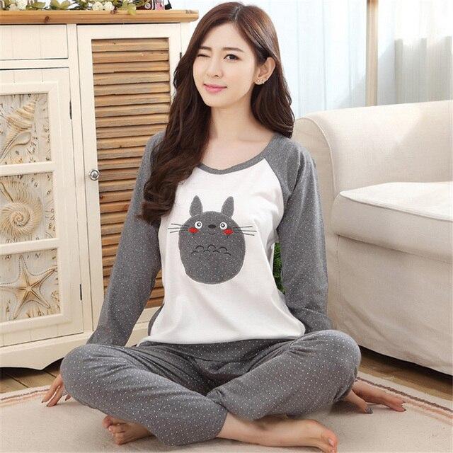 Autumn and Winter Cotton Pyjamas Women Totoro Pajama Sets Cartoon Sleepwear Pajamas for women female girl