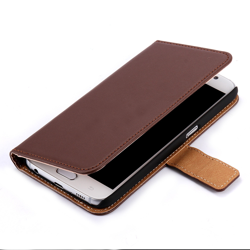 KISSCASE Genuine Leather Flip Wallet Cases For Samsung ...