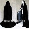 Бесплатная доставка Новые Black Velvet Black Satin Подкладка Капюшоном Вампиров Кабо Halloween Party Плащ Размер M-XXL