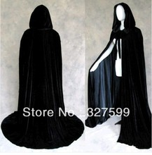 New Black Velvet Black Satin Lined Hooded Vampire Cape Halloween Party Cloak Size S-XXL cosplay Retro, Gothic, heroic Cloak