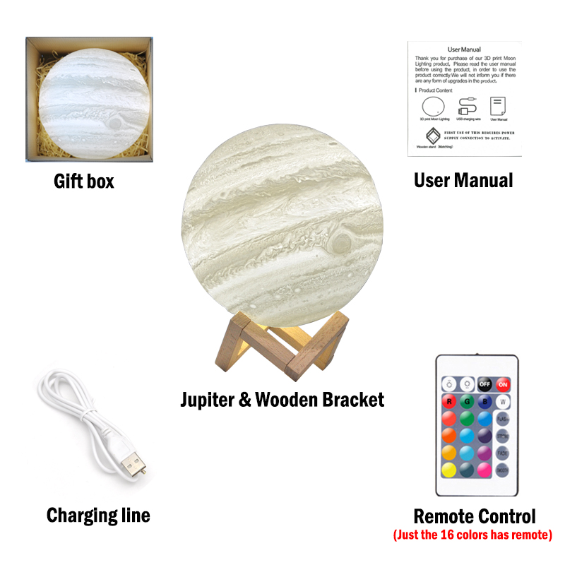 3D Printing Jupiter Lamp Moon Light Star 16 Colors Remote Contorl Rechargeable Bedroom Decor Night Lights Child Colorful Gifts