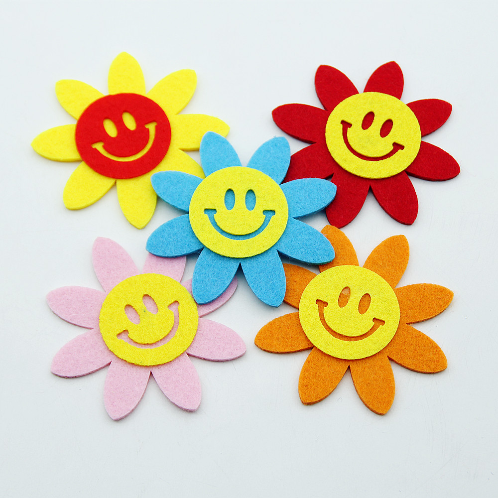 Smile Sun Flower Mixed Color Felt 8.5cm Fabric Cloth Material DIY Handmade Free Cutting Kindergarten Kids Home Room Decor Crafts