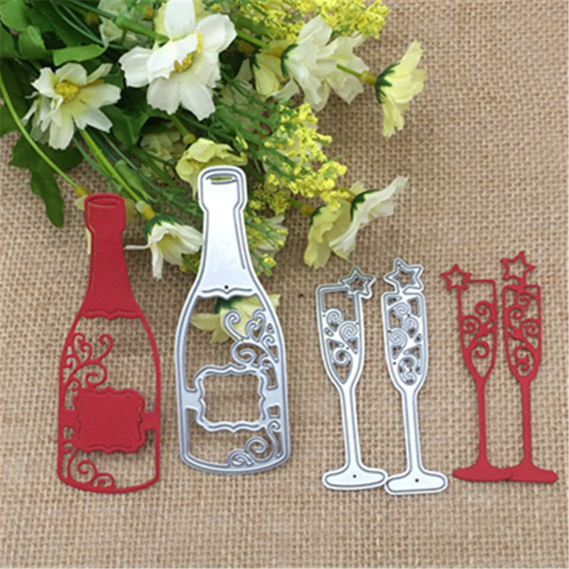3x Wine Bottle Cup Metal Cutting Dies Stencil Scrapbooking Photo Album Card Paper Embossing Craft DIY