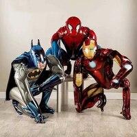 1pcs 3D Spiderman iron Man Batman Airwalker Foil Balloons Avengers Hero Birthday Party Decor Supplies Children's Gifts Toys