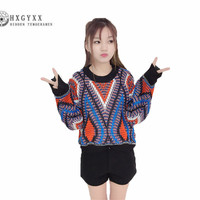 Spring and Autumn New Round Collar Women's Knitwear Korean Long Sleeve Short Sation Temperament Loose Large Size Sweater G0210