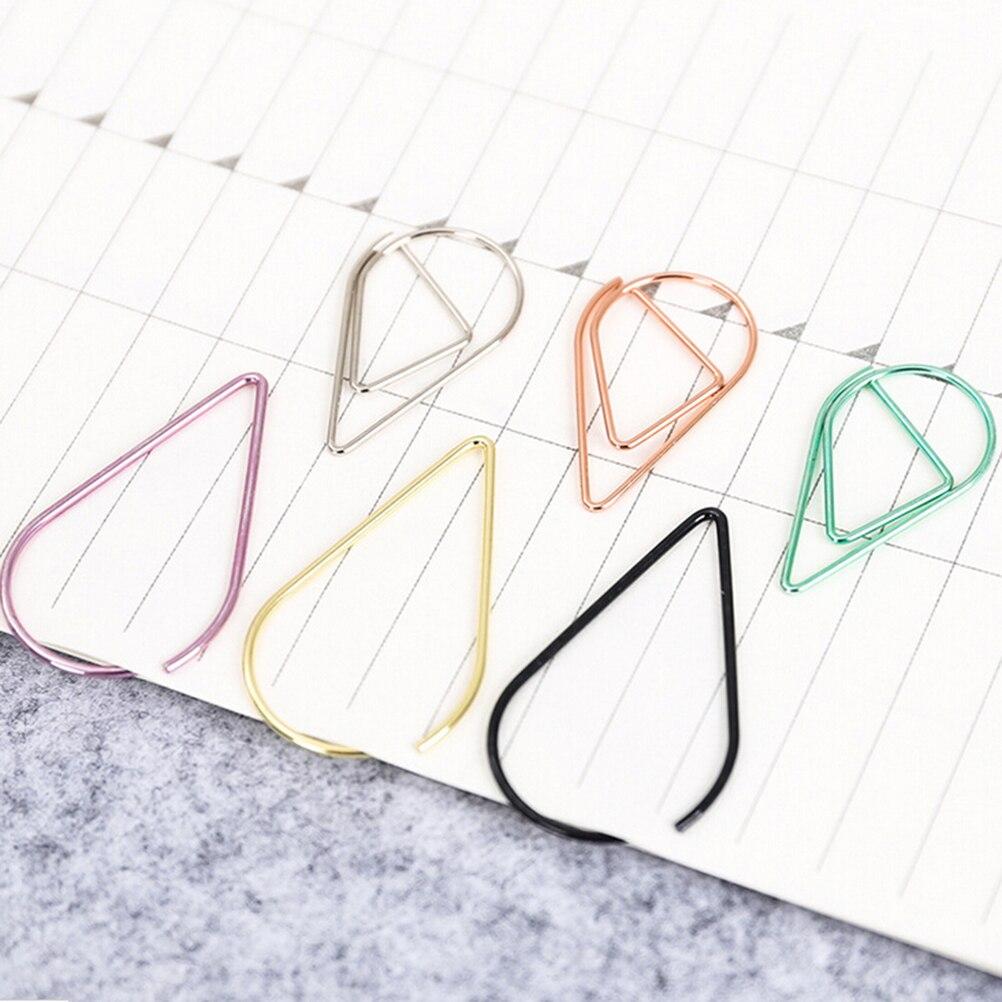 30//50 Pcs//lot metal material drop shape paper clips funny bookmark marking c Fc