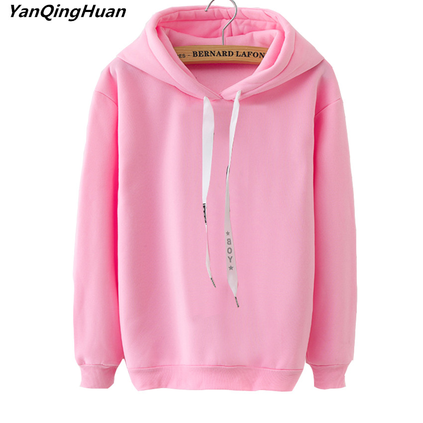 2019 Fashion Winter Women's Hoodie Warm Long-sleeved Casual Pullover Coat Sweatshirt Solid Color Hoodies Loose Tops Sportswear