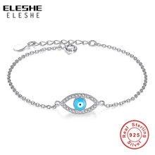 ELESHE Top Quality Blue Enamel Crystal Eye Bracelets for Women 925 Sterling Silver Bracelet Chain Link Jewelry Femme Bijoux