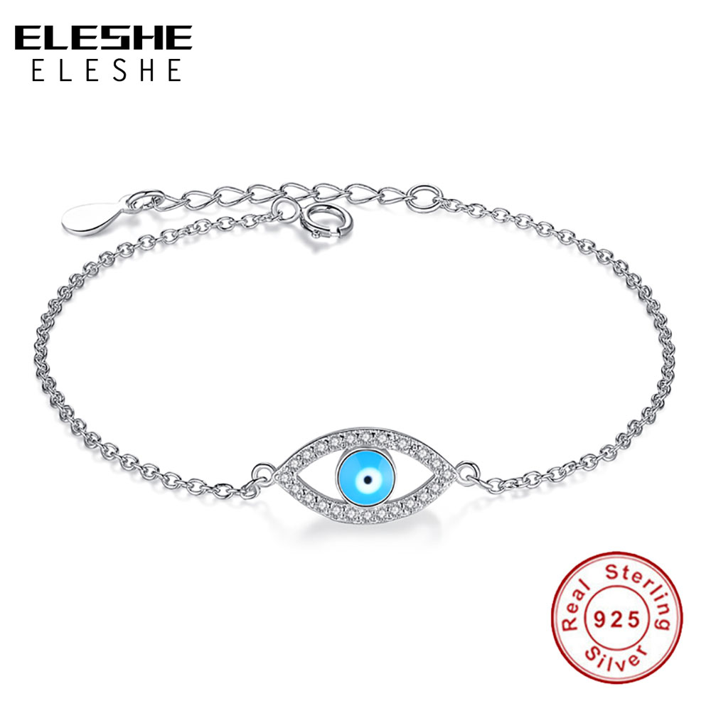 ELESHE Top Quality Blue Enamel Crystal Eye Bracelets for Women 925 Sterling Silver Bracelet Chain Link Jewelry Femme Bijoux