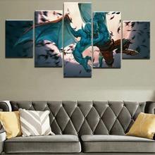 цена на Painting Wall Art Canvas Living Room Artwork DOTA 2 Game Modern Decorative HD Print Canvas Printed 5 Pieces Home Print Poster