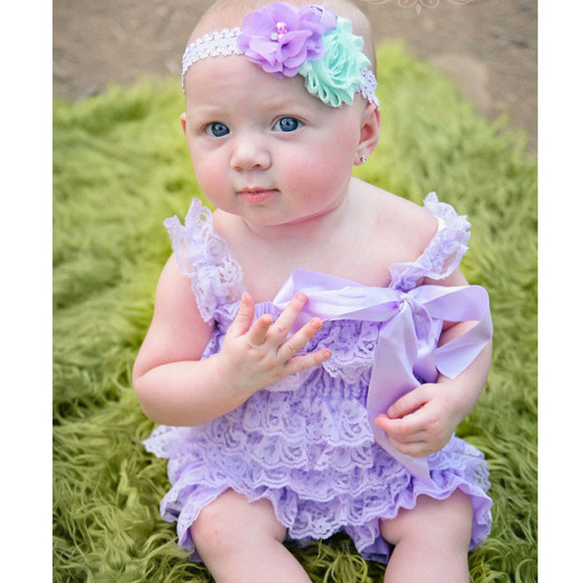 f0d468eef24 Cute Baby Lavender Lace Romper Infant Girls Posh Petti Ruffled Strap Romper  with Ribbon Bow and Flower Headband Newborn Jumpsuit