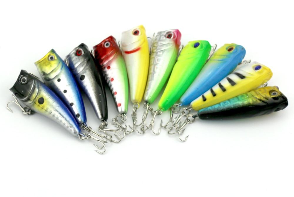 Горячая 60 мм Адреналин Поппер Рыбалка приманки 6 см 7 г 8# рыболовные снасти Minow приманки 2 tooks 10 видов цветов 150 шт./лот почтой Китая