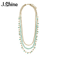JShine Trendy Ethnic Multilayer Blue Beads Long Necklace For Women Imitation Pearl Vintage Necklace Accessories Beaded