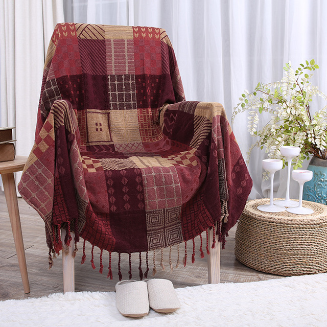 2016 New Cotton Fringed Vintage Baby Blanket Throws On Sofa Bed Plane Travel Plaids