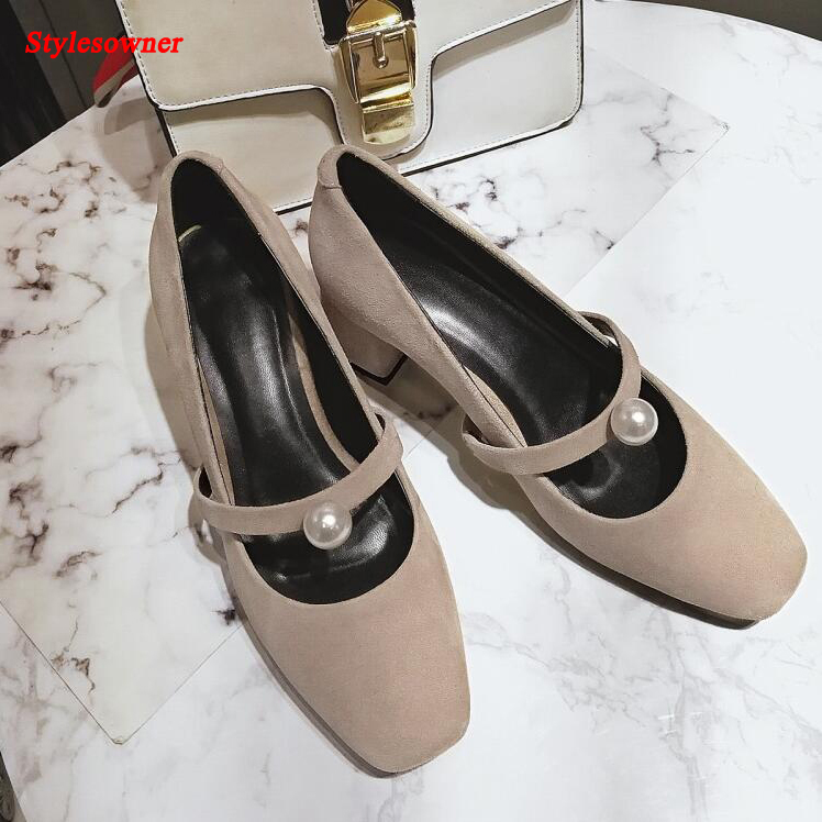 ФОТО Stylesowner Sweet Style Girls Mary Jane Shoes Pearl Buckle Squared Toe Thick Heel Pumps 2017 Spring New Shoes Women Heels