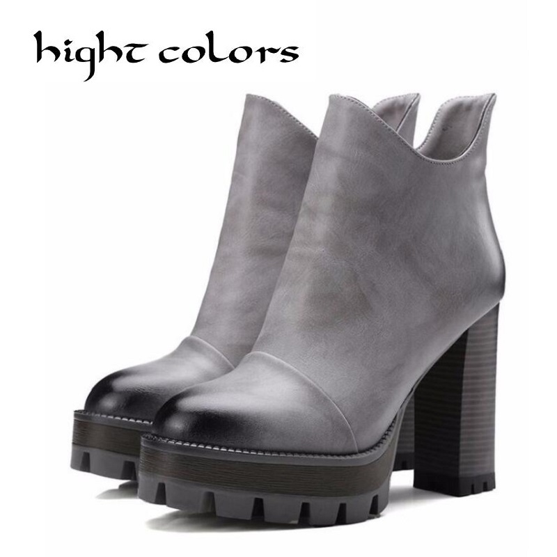 Size 10 Women High PU Leather Platform Shoes Zip Ankle Knight Boots Chunky Heel Pumps Sexy Vintage Platform High Heels womens punk ankle boots chunky heels platform side zip leather moto shoes woman high heel thick heel platform motrocycle boot