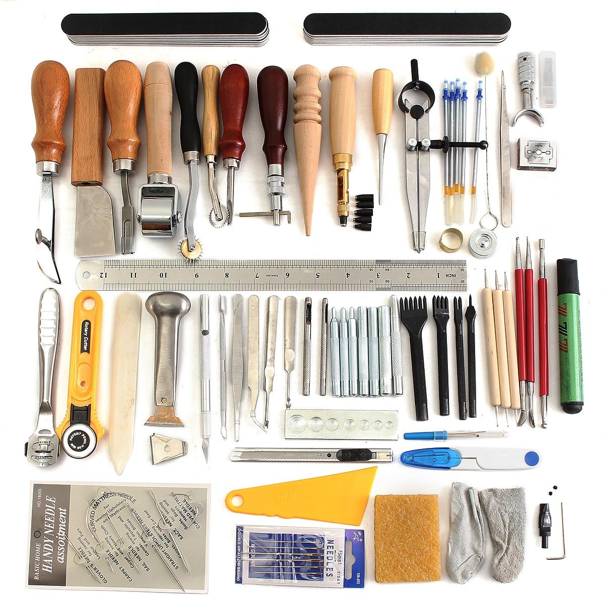 KiWarm Professional Leather Craft Tools 59Pcs DIY Hand Sewing Stitching Carving Work Set Kit Punch Awl Leathercraft Sewing Sets