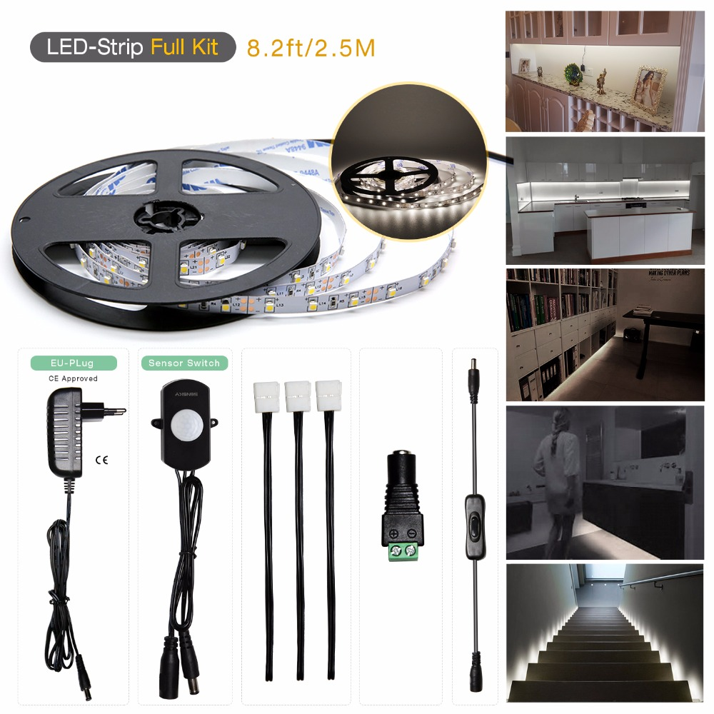 Motion Sensor LED Strip 2.5M 150 LEDS PIR LED Strip Cold White with ON OFF Switch High Quality Bed Light for DIY 5pcs lot high quality 2 pin snap in on off position snap boat button switch 12v 110v 250v t1405 p0 5