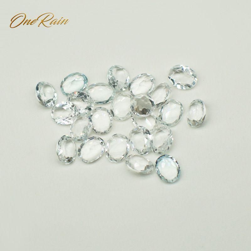 OneRain 50 PCS/ Set Natural 4 * 5 MM Oval Cut White Topaz Loose Gemstone DIY Stones Decoration Jewelry Wholesale Lots Bulk