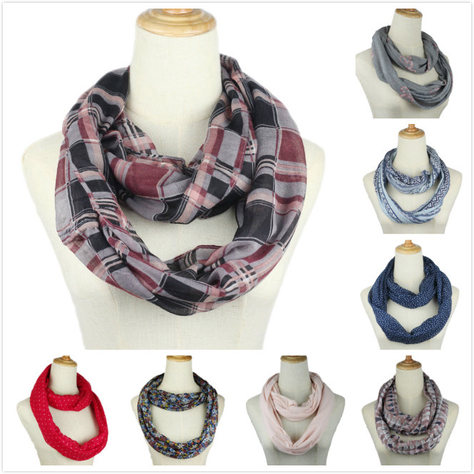 New Fashion Women Flower plaid ring   Scarf   Dot Print Ring loop   Scarves   Infinity Shawl   Wrap   High Quality spring Autumn